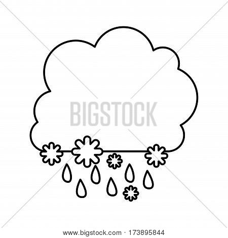 monochrome contour with cumulus of clouds with rain vector illustration