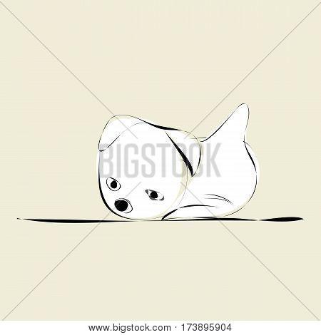 white doggy on beige background (vector illustration)