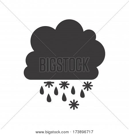 gray silhouette with cumulus of clouds with rain vector illustration