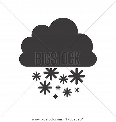 gray silhouette with cumulus of clouds and snow fall vector illustration