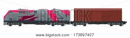 Locomotive with Closed Wagon, Train Isolated on White Background, Railway and Cargo Transport, Vector Illustration