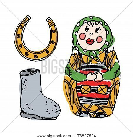Illustration with traditional Russian symbols: nested doll, valenok and horseshoe