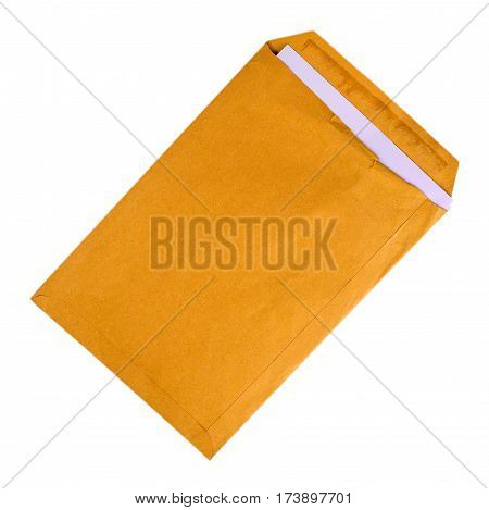 Open used yellow envelope isolated on white background.