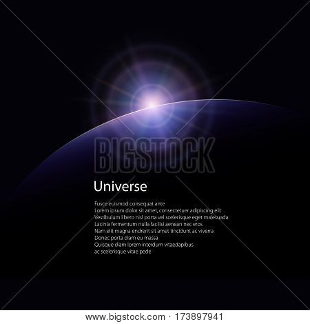 View from Space, Space Star Rises above the Planet, the Sun Rising over the Earth ,Rays and Glare over the Planet Earth, Poster Brochure Flyer Design,Vector Illustration