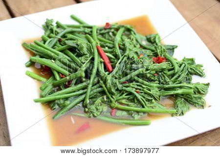 Closeup stir-Fried Sayate Wish Salted Soya Bean
