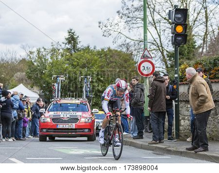 Conflans-Sainte-HonorineFrance-March 62016: The Danish cyclist Lars Ytting Bak of Lotto-Soudal Team riding during the prologue stage of Paris-Nice 2016.