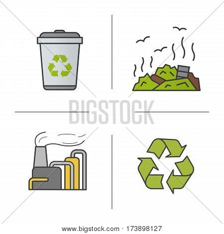 Waste management color icons set. Recycle bin symbol, rubbish dump, factory pollution. Environment protection. Isolated vector illustrations