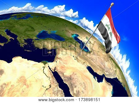 Iraq national flag marking the country location on world map. 3D rendering, parts of this image furnished by NASA
