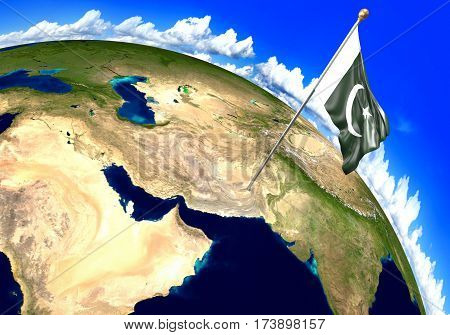 Pakistan national flag marking the country location on world map. 3D rendering, parts of this image furnished by NASA