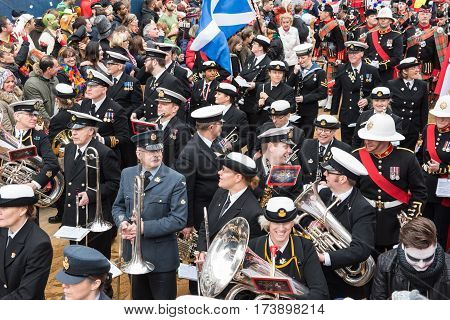 Musicians on the rose monday parade in Cologne - musicians in uniform - Participants of the rose monday parade in cologne on February 27, 2017