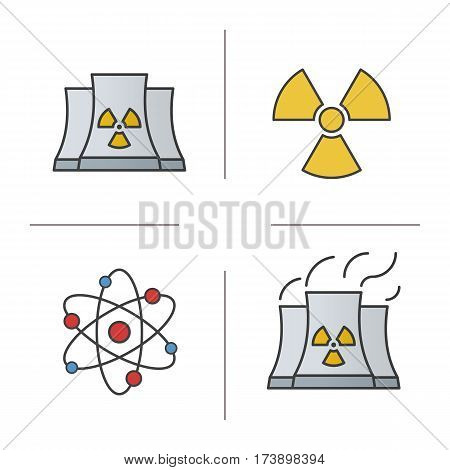 Atomic energy color icons set. Nuclear power plant with smoke, radiation and atom symbols. Isolated vector illustrations