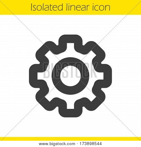 Cogwheel linear icon. Gear thick line illustration. Cog contour symbol. Vector isolated outline drawing