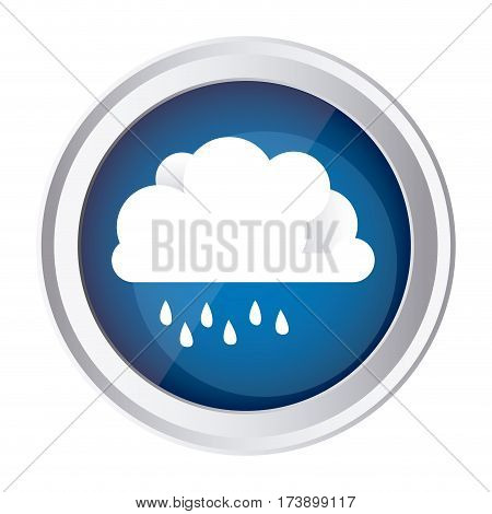 color circular frame and blue background with cloud with drizzle vector illustration
