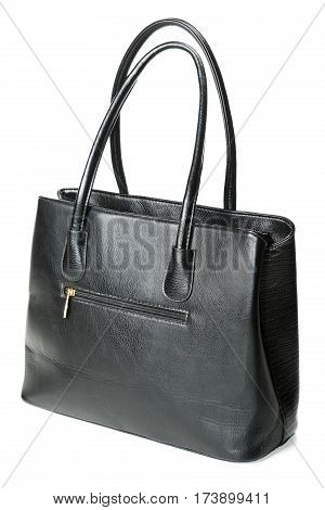 Black Female Bag Isolated On White Background