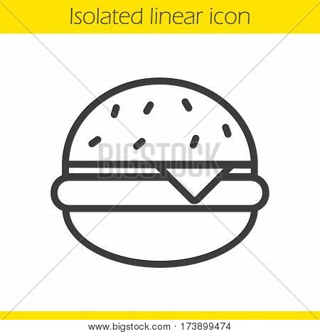 Hamburger linear icon. Thin line illustration. Fastfood cheese burger contour symbol. Vector isolated outline drawing