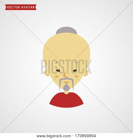 Face of chinese old man. Flat avatar isolated on white background. Vector icon.