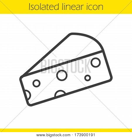 Cheese slice linear icon. Thin line illustration. Hard porous cheddar cheese contour symbol. Vector isolated outline drawing