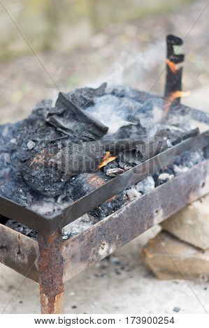 Homemade Barbecue Grill With Fire And Smoke