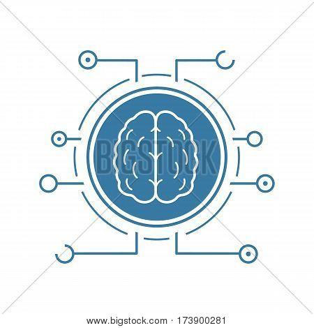 Neural networks icon. Blue silhouette symbol. Human brain in microchip pathways. Artificial intelligence. Negative space. Vector isolated illustration