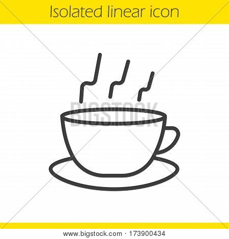 Steaming cup linear icon. Teacup thin line illustration. Hot steaming coffee cup on plate contour symbol. Vector isolated outline drawing