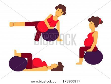 A set of flat vector images of a pregnant woman making exercises with a fitball