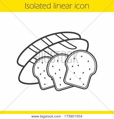 Bread linear icon. Grain products. Thin line illustration. Bakery. Toasts and long loaf contour symbol. Vector isolated outline drawing