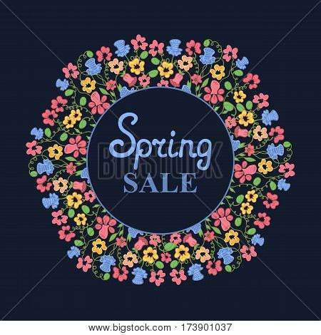 Flower wreath. Spring sale design for Women's Day. March 8.