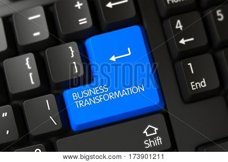 Business Transformation Concept: PC Keyboard with Blue Enter Keypad Background, Selected Focus. 3D Illustration.