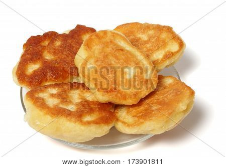 5 fritters on glass plate isolated on white background