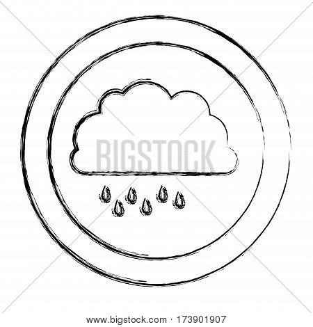 monochrome blurred circular frame with cloud with drizzle vector illustration