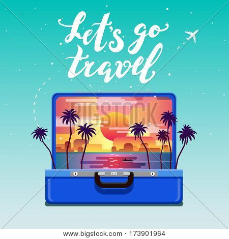 Concept of travel. Lets go travel. Open blue suitcase with sunset and palm trees. Flat design, vector illustration.