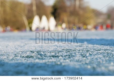 Frozen Surface Of Lake Worthsee