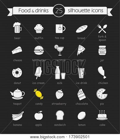 Food and drinks chalk icons set. Alcohol, fruits and vegetables, dairy products, bakery and sweets. Restaurant and cafe menu items. Isolated vector chalkboard illustrations