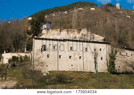 Sant'Eutizio abbey destroyed by earthquake, Umbria, Italy