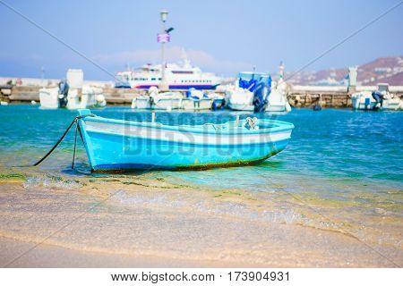 Traditional fishing boats in Mykonos port, Mykonos island, Greece