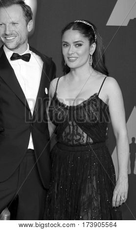 Salma Hayek and Orlando von Einsiede at the 89th Annual Academy Awards - Press Room held at the Hollywood and Highland Center in Hollywood, USA on February 26, 2017.