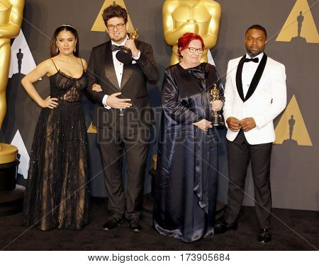 Salma Hayek, Kristof Deak, Anna Udvardy and David Oyelowo at the 89th Annual Academy Awards - Press Room held at the Hollywood and Highland Center in Hollywood, USA on February 26, 2017.