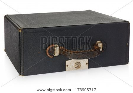 The old leather antique black case with handle and lock. Necessary for transportation of antique typewriter isolated on white background with light shadow and reflection.