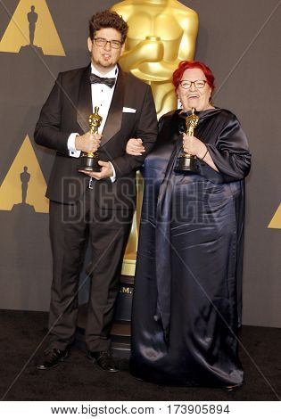 Kristof Deak and Anna Udvardy at the 89th Annual Academy Awards - Press Room held at the Hollywood and Highland Center in Hollywood, USA on February 26, 2017.