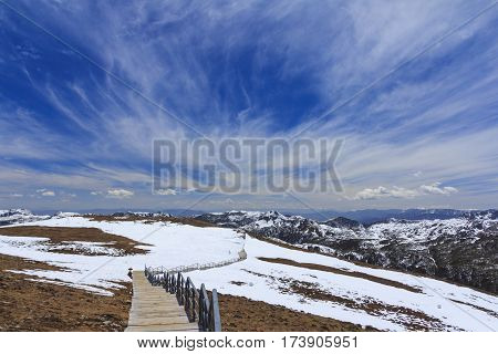 Snow mountain and blue sky at Blue Moon Valley also called Shika Snow Mountain located in Shangri-La (Zhongdian) of Yunnan China.