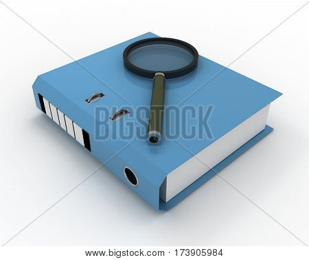 3D Folder With Documents Inside Isolated On White Background