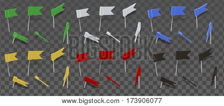 Colored thumbtacks flag isolated on transparent background. Illustration in vector format