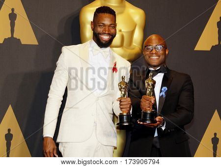 Barry Jenkins and Tarell Alvin McCraney at the 89th Annual Academy Awards - Press Room held at the Hollywood and Highland Center in Hollywood, USA on February 26, 2017.