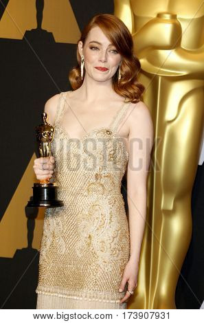 Emma Stone at the 89th Annual Academy Awards - Press Room held at the Hollywood and Highland Center in Hollywood, USA on February 26, 2017.