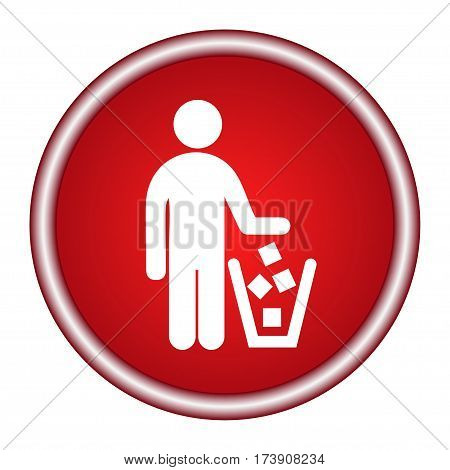 No littering sign in vector. Round red icon.