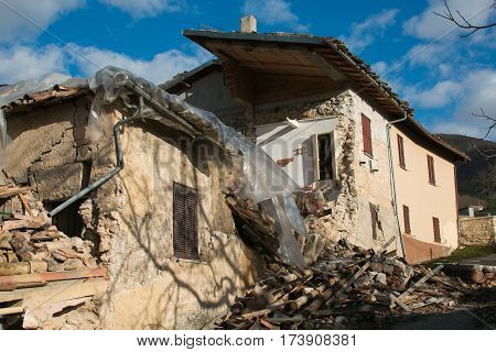 The frightening effect of earthquake, Central Italy