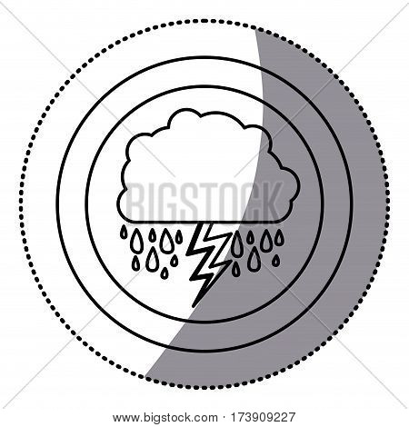 sticker monochrome circular frame with cumulus of clouds with rain vector illustration