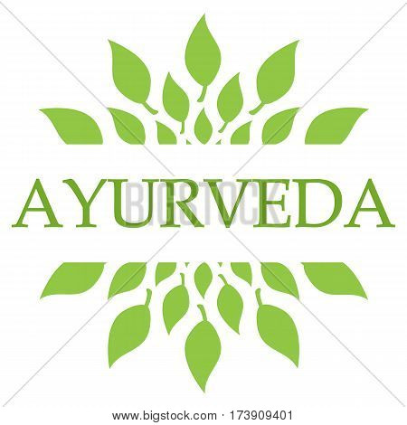 Ayurveda concept image with text and leaves symbol.