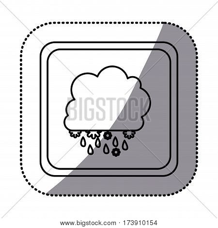 sticker monochrome square frame with cumulus of clouds with rain vector illustration