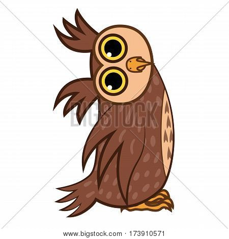 Set Vector Illustrations isolated character cartoon owl asks the question emoticons for site, info graphics, reports, comics